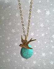 Vintage Style Swallow Bird & Turquoise Teardrop Bead Necklace - Gold Brass Boho