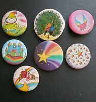 Lot of 7 Vintage Pin Back Buttons - Elf, Stars, Mystical, Tropical, Peacock