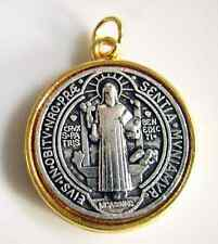 """ITALY GOLD & SILVER Catholic ST.BENEDICT Medal Necklace Rosary Pendant 1.5"""""""