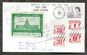 EDMONTON 2009 Curious Philatelic Precancel Postal Card Label Postage Due (p0517)