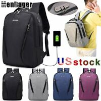 Mens Anti Theft Lock Laptop Backpack USB Charging Business Travel School Bag
