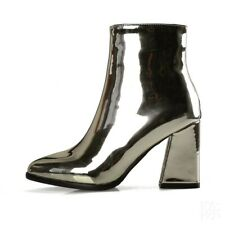 Women Solid Patent Leather Pointy Toe Fashion Zipper Block Mid Heels Ankle Boots
