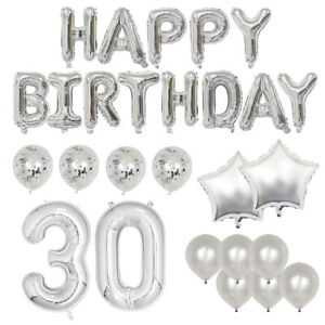 Happy 30th Birthday Deluxe Silver Foil Balloon Party Kit - Includes 25+ Balloons