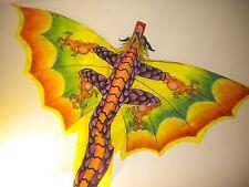 Huge Dragon Kite Unique Handmade Bali Indonesian Orange/Yellow/ Purple/Green