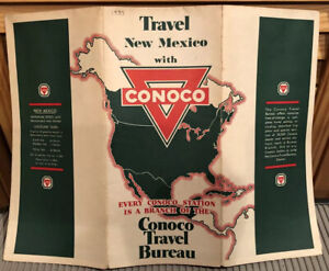 1933 NEW MEXICO Road Map Conoco Gas Stations