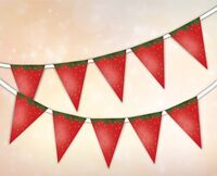 Summer Collection - Strawberry - Bunting Banner 15 flags by PARTY DECOR