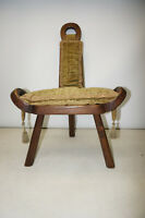 Antique Labor midwife Birthing Stool Spinning Wheel Hand Carved Wood Chair