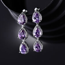 HUCHE Dangle Raindrop Pear Amethyst Lab Sapphire White Gold Filled Women Earring