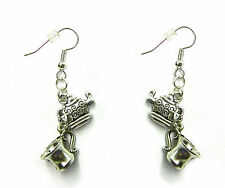 Alice in Wonderland Mad Hatter Tea Party Linked Silver Earrings
