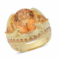 Citrine Yellow Gold Over 925 Sterling Silver Cocktail Ring Gift 8.4 Ct Size 7