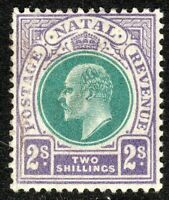 South Africa Natal 1902 green/violet 2/- crown CA mint SG137