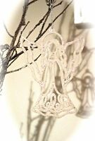 Glitter Angel Christmas Tree Decoration Sparkle Xmas Decorations Hanging Silver