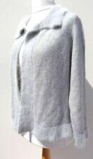Per Una Grey Lambswool Angora Blend knitted Cardigan Jacket L 16 18