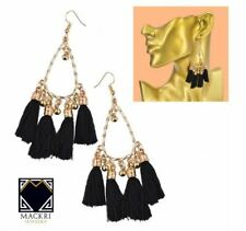 MACKRI Knot Design 4-Tassel Long Tassel Hook Drop Earrings BLACK