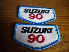 "Quantity 2 NOS Vintage Suzuki 90 RV90 TS90 TC90 Jacket Hat Patch 3 1/2"" x 2"""