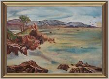 ARTE NAIF marina con stormo di gabbiani olio tavola ENRICO COPETTA COEN 1925-89
