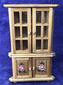 Corner Hutch Cabinet Armoire Furniture Miniature Dollhouse Kitchen Dining Room