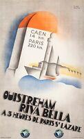 Affiche Originale Art Deco - Willy Mucha - Ouistreham Normandie - Voile 1934