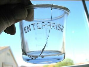 """Old coffee grinder/mill glass catch cup embossed """"ENTERPRISE""""  cracked - as-is"""