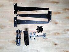 "14"" (3) Black Garden Gate Heavy Duty Tee Hinges Suffolk Latch Bolt Furniture Set"