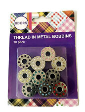 10PC Standard Sewing Machine Metal Bobbins/Spools Assorted Colour Threads Home