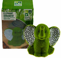 Cute 14cm Elephant Garden Ornament With Green Moss Effect