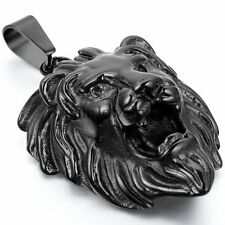 Cool Men Lion Head King of Animal Punk Rock Stainless Steel Pendant Necklace 22""