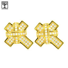 Men's 925 Silver in 14k Gold Plated CZ XL Cross Screw Back Earrings SHS 627 G