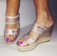 WOMENS GIRLS ROSE GOLD WEDGES PLATFORMS BEACH HOLIDAY SUMMER SANDALS SHOES SIZE