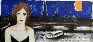 Fabio Calvetti litografia a colori Parigi 50x23 firmata numerata 30/100