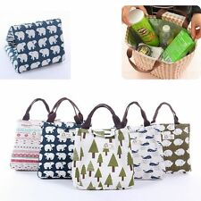 For Women Kids Men Tote Bag Insulated Canvas Box Thermal Cooler Food Lunch Bag