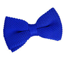 DQT Knit Knitted Plain Solid Royal Blue Classic Mens Pre-Tied Bow Tie