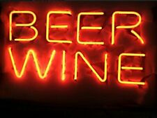 "Beer Wine Neon Lamp Sign 17""x14"" Bar Light Glass Artwork Display Decor Man Cave"