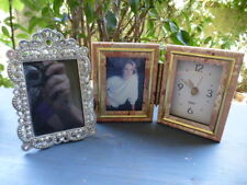 """LOT of 2 Standing~5""""Cast Metal~Silver Jewels Photo Frame & Clock with Frame~EXCL"""