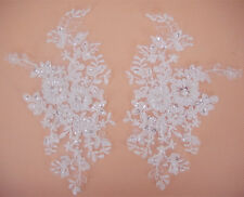 Bridal Lace Applique Beaded Wedding Motif Floral Off White Sewing Trim 1 Pair