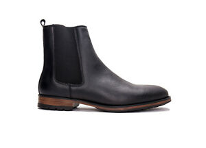 Vegan boot ankle chelsea stylish breathable lined with flexible pull-on in black