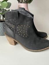 Next Black Leather Cowboy Ankle Boots 5 Studded Western Heeled Biker
