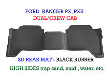 To suit Ford Ranger PX PX2 3D Rubber Rear Floor Mat Dual Crew Cab