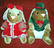 Christmas VELVETEEN RABBITS 14in Plush Bunnies 1985 Toyrus Excl. Commonwealth