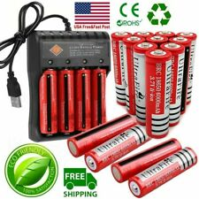 10X Powerful UltraFire 18650 Battery 3.7V Li-ion Rechargeable Batteries Chargers