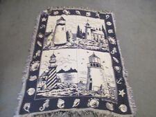 "Lighthouses Throw Blanket USA Blue White Nautical Crown Crafts, Inc 56""x 44"""