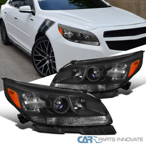 For 13-15 Chevy Malibu 16 Limited Matte Black Projector Headlights Left+Right