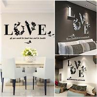 3D Wall Sticker Love Letter Flower DIY Art Mural Home Vinyl Decor Acrylic Decal