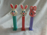 PEZ Lot 3 EASTER ~ Bunny Rabbit Issue E Blue & Pink Stem, Issue F Pink Head