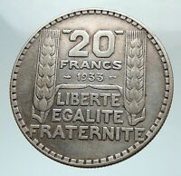 1933 FRANCE Authentic Large Silver 20 Francs Vintage French MOTTO Coin i80309