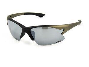 Pugs Sunglasses Style # A6 Semi Rimless Sport Wrap Graphite / Silver Mirror #54G
