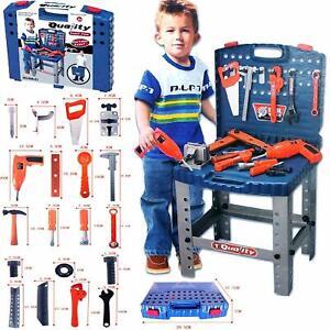 Kids Tools Work Bench Kit Set Folding DIY Construction Pretend Play Set Case Boy