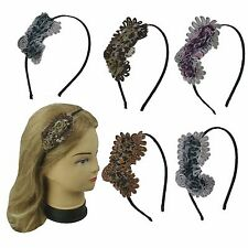 4 pcs Assorted Color Thin Hairband Metal Headband with Leopard Design