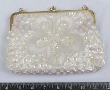 Vintage White Sequin & Gold Tone Evening Bag (g25)