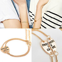 Pop  Best Friends Forever Split Heart Pendant Bracelet Set Friendship Jewelry